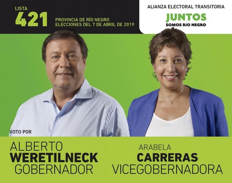 Weretilneck, arabela carreras, BOLETA, elecciones 2019
