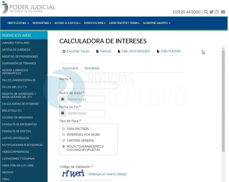 CALCULADORA DE INTERESES, poder judicial