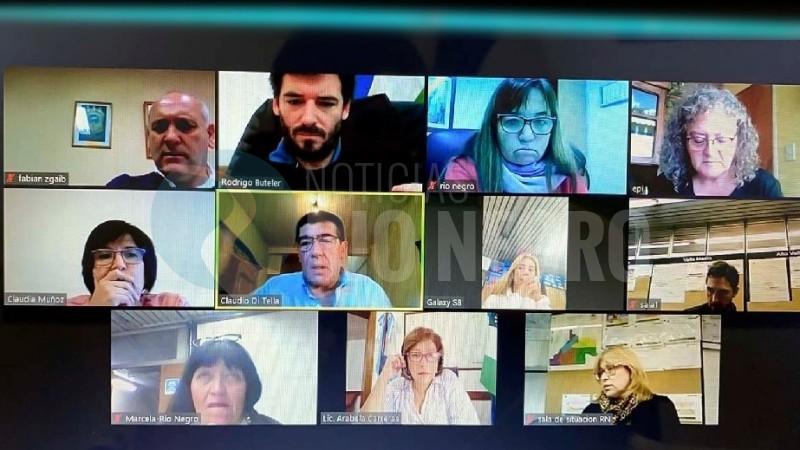 videoconferencia, luis fabian zgaib, Rodrigo Buteler, mercedes iberó, arabela carreras, claudio di tella