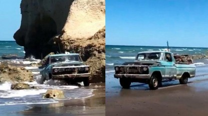 camioneta, playa, Las Grutas