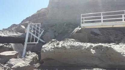 espigon, playa bonita, DERRUMBE, desmoronamiento, escalera