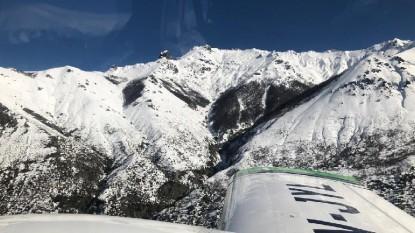 avión, montaña, cordillera