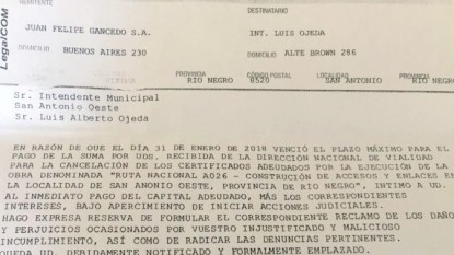 san antonio, gancedo, carta documento