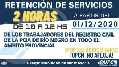upcn, registro civil, retencion de servicios