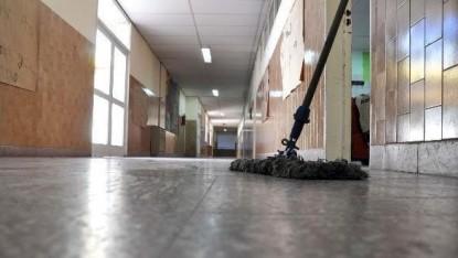 escuela, limpieza, porteros
